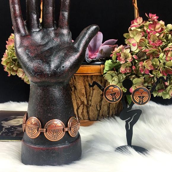 Vintage Jewelry - Vintage Copper Thunderstorm Bracelet & Earring Set